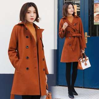 (S~2XL) Autumn and winter Korean Slim women's wool coat fashion long paragraph caramel colored coats