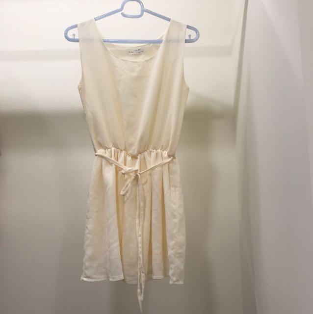 (全新)無袖雪紡縮腰洋裝