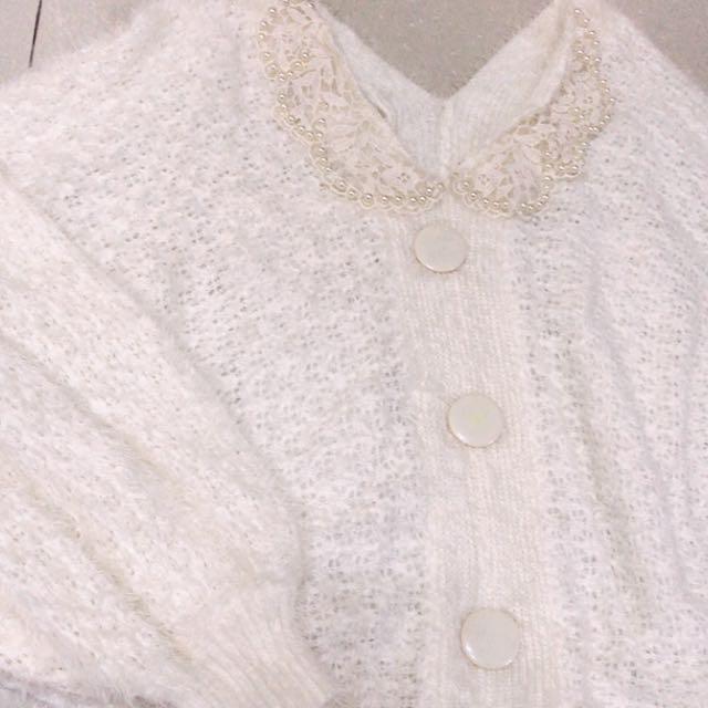 珍珠領白色毛線衣🎈