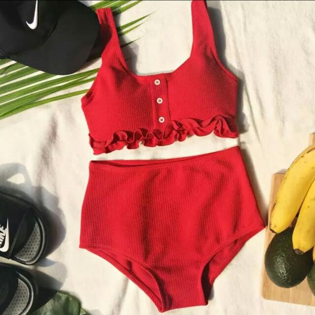 現貨歐美性感鈕釦運動風兩截式泳裝溫泉泳衣