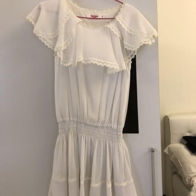 白色蕾絲雪紡短洋裝