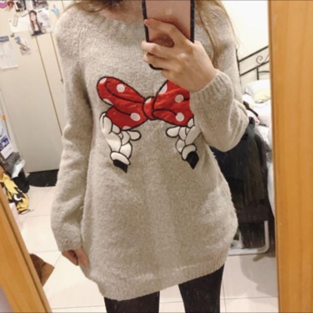 迪士尼米妮蝴蝶結毛衣