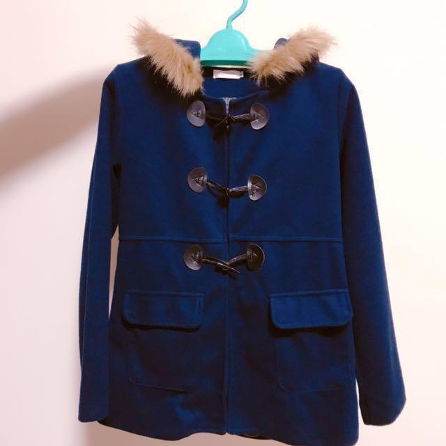 降價⬇️深藍牛角釦連帽蝴蝶結外套