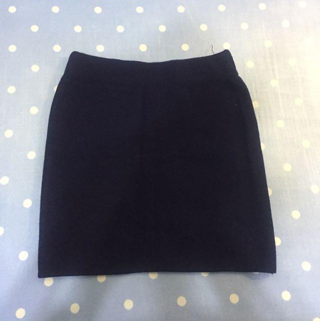 深藍針織短裙
