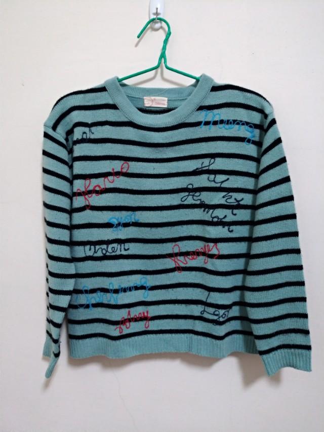 英字條紋毛衣