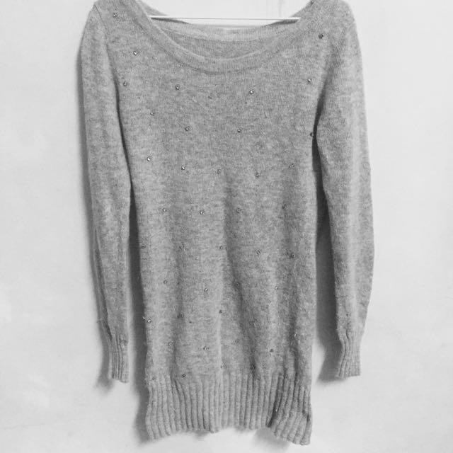 灰色小鑽毛衣洋裝