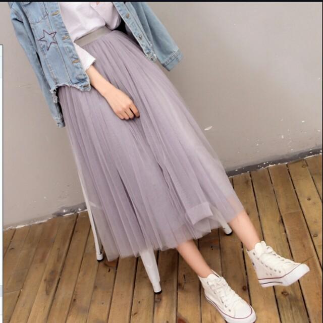 高腰百褶紗裙 灰色