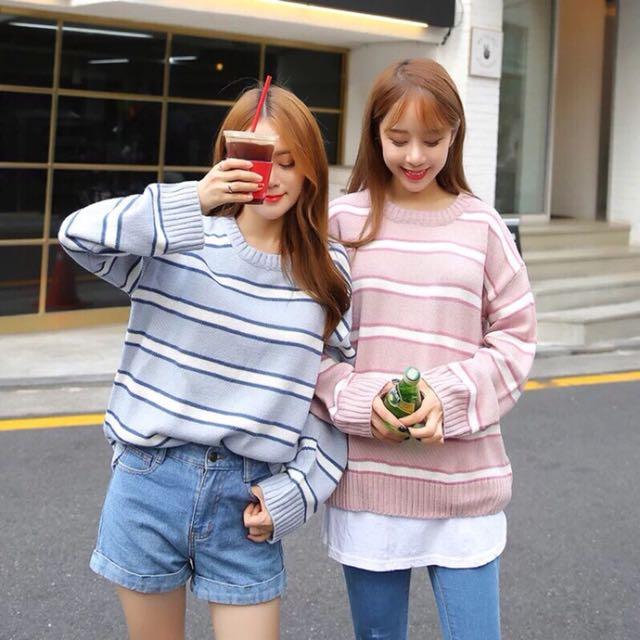 針織條紋毛衣 粉色