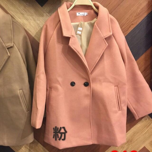 ♡ 花雜貨 ♡ 甜美可愛氣質風 翻領雙釦毛呢西裝大衣外套 (粉)