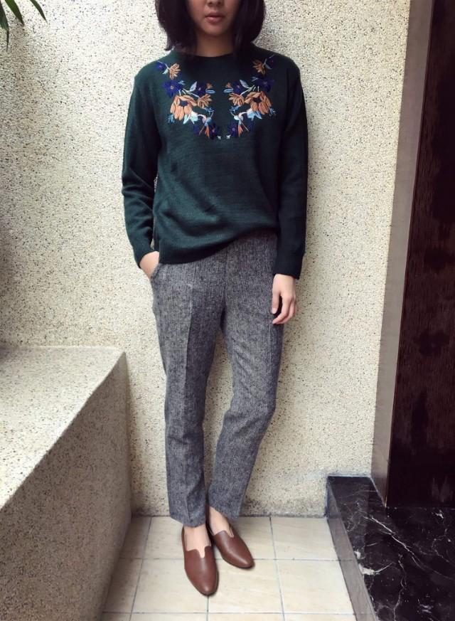 寒流急凍 # 正韓轉賣 @ 繡花針織毛衣 #耶誕綠