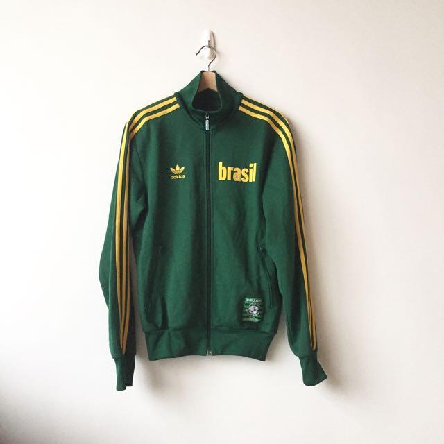 adidas 巴西世界盃限定 立領運動外套 黃綠 復古 vintage 古著 可參考