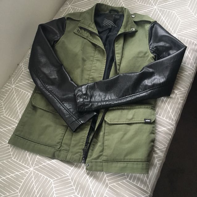Army Green Jacket with Leather Sleeves