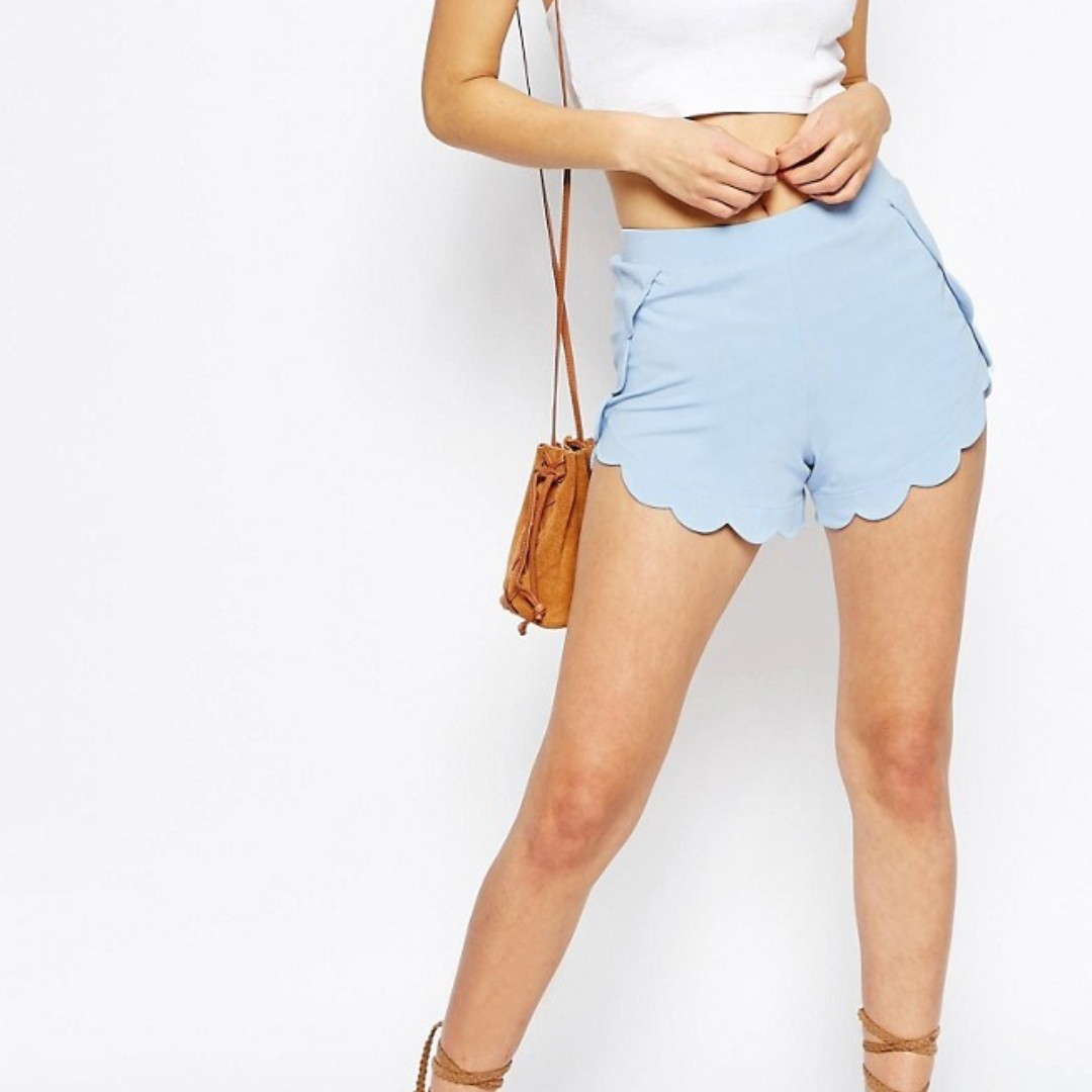 ASOS BNWT Size 8 Scallop Shorts in Light Blue