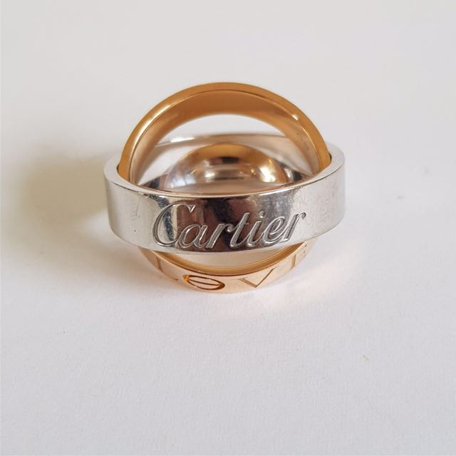 Authentic Cartier pink and white 18k gold Secret LOVE ring