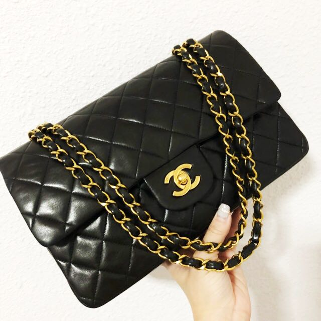 38b8d7596ad0 Authentic chanel 10 inch classic flap bag in Lambskin with 24k gold ...