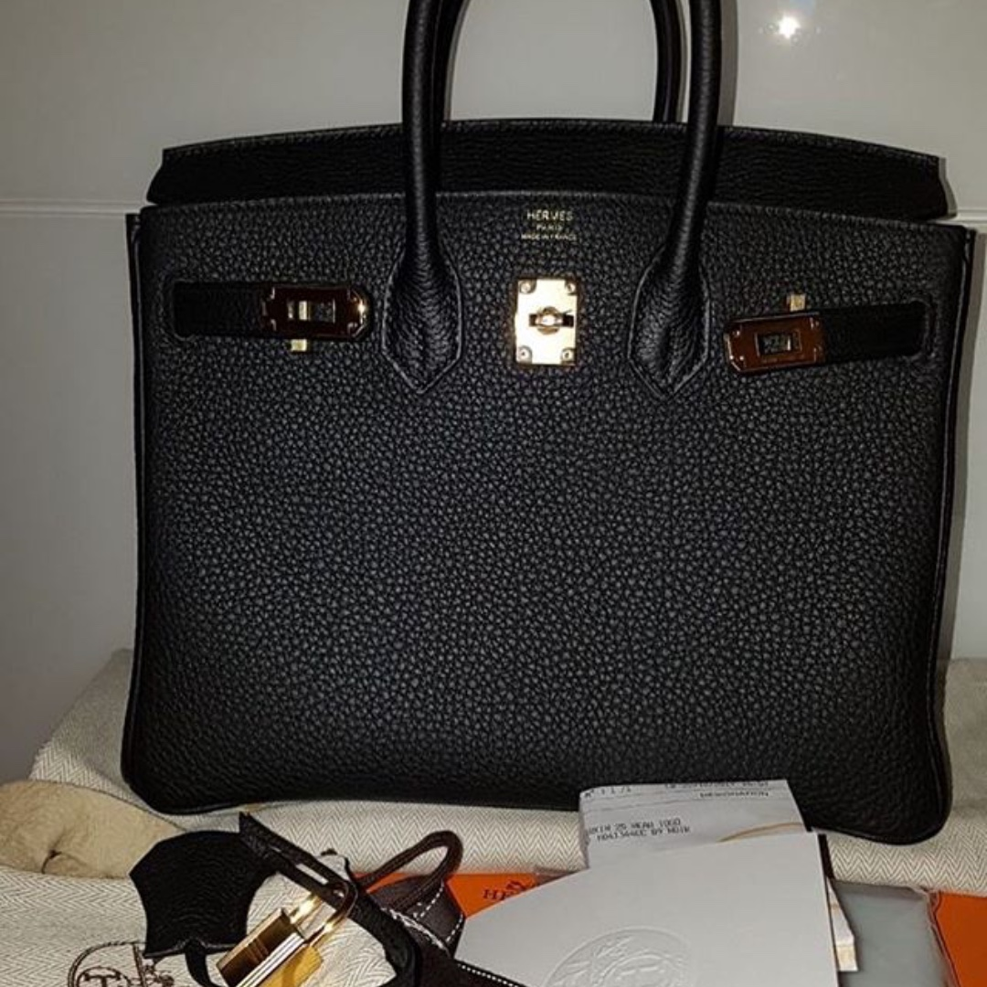 Authentic hermes birkin 25 black togo ghw stamp A f629228d7