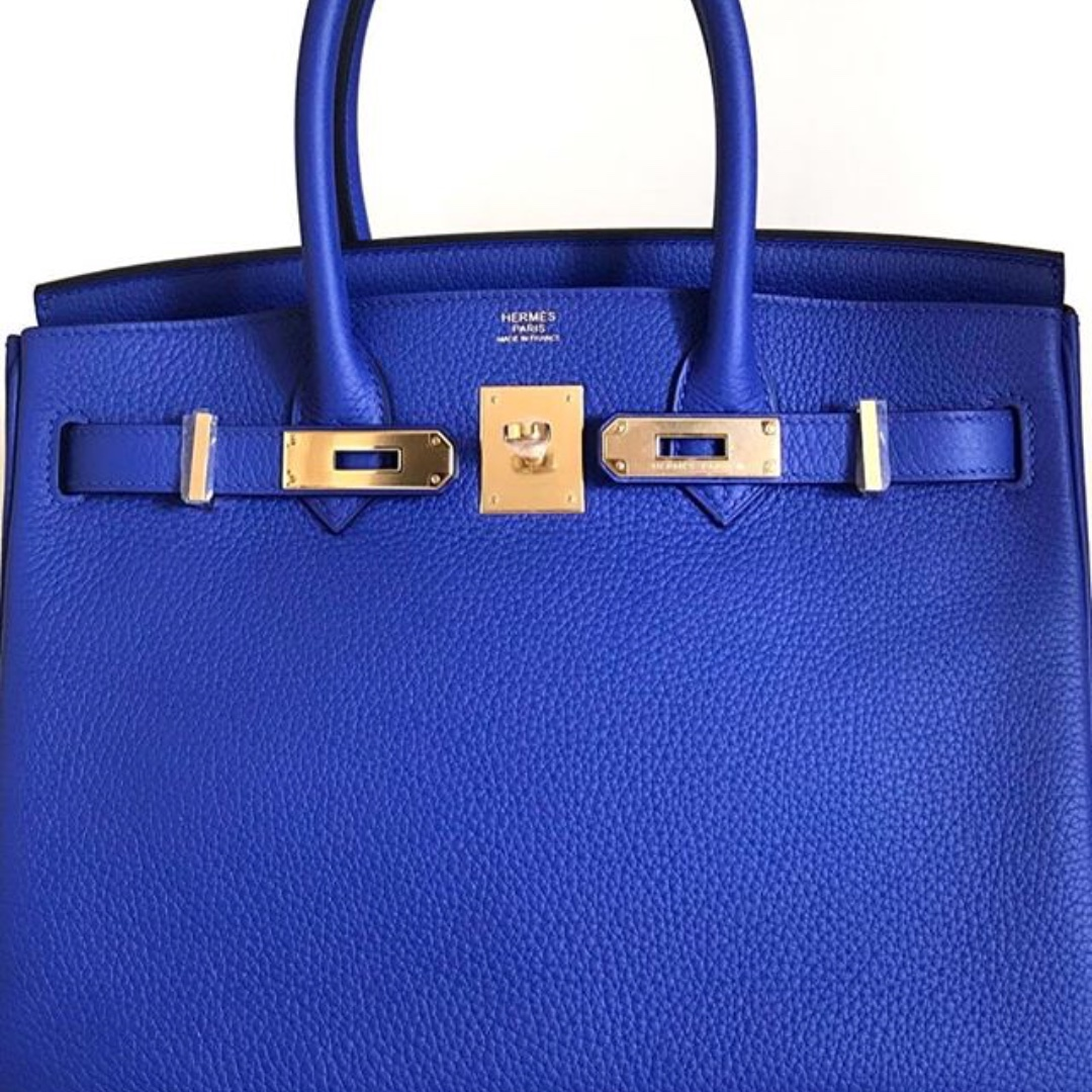 Authentic hermes birkin 30 blue electric clemence stiff ghw stamp A ... e09df9931