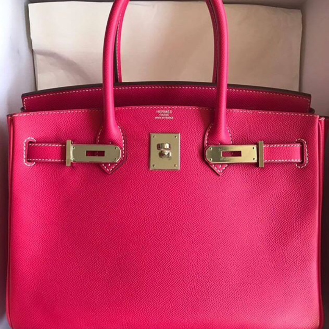 82a7d2456842 Authentic Hermes birkin 30 rose tyrien epsom phw stamp Q