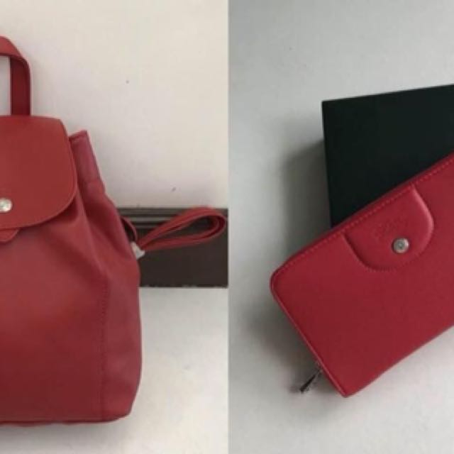 Authentic longchamp backpack and wallet