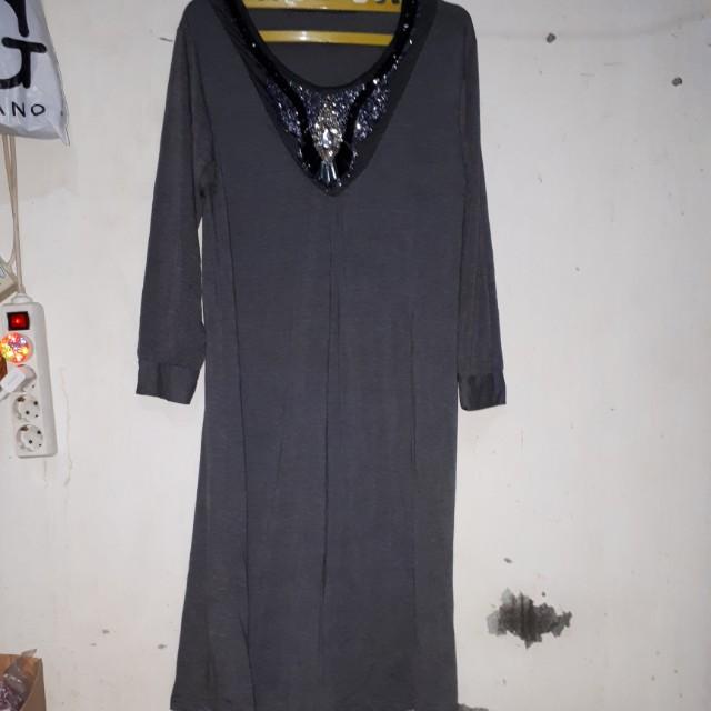 #Reprice#Baju Gamis wanita motek-motek warna abu size besar
