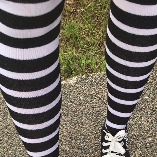 Black and White Knee High Socks