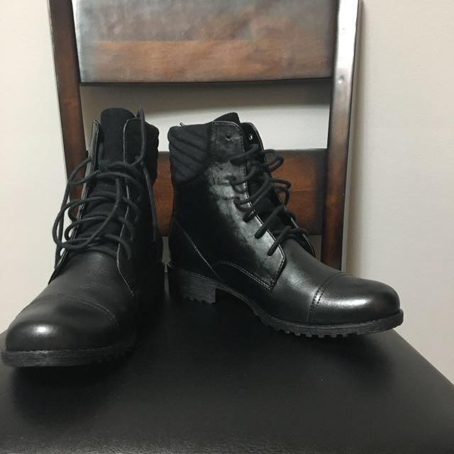 Black Waterproof Leather Ankle Boots