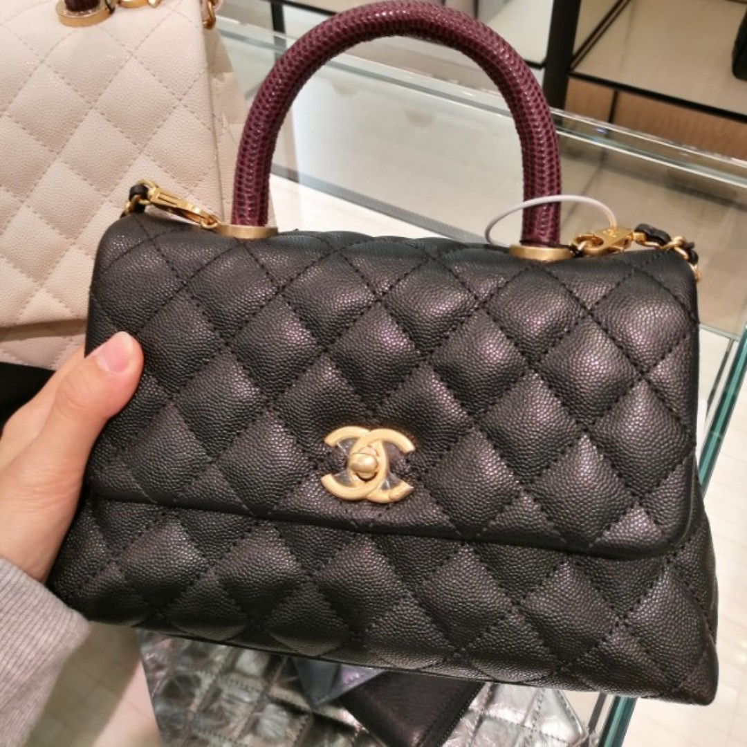 3d87aa94aacf BNIB Mini Chanel Coco Handle With Lizard Burgundy Handle Mini, Luxury, Bags  & Wallets on Carousell