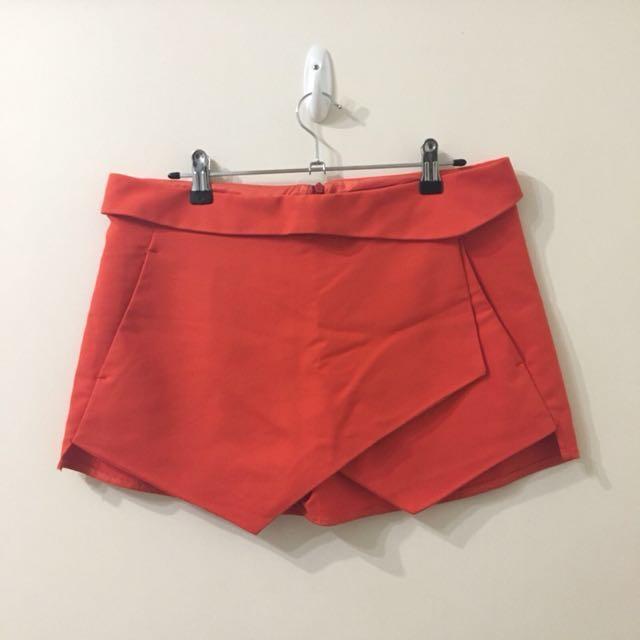 BNWOT Zara Basic Red Asymmetric Hem Shorts