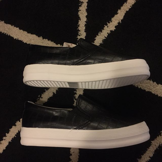 Brand new slip on pleather shoes