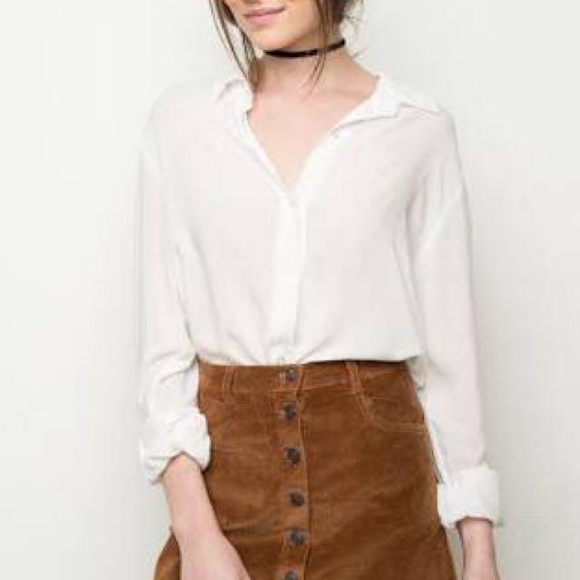 Brandy Melville Button Corduroy Skirt