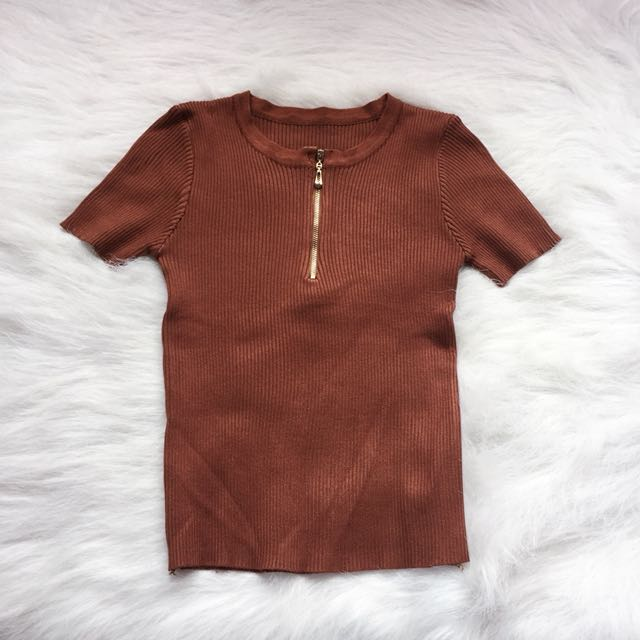 Camel Brown Ribbed Top