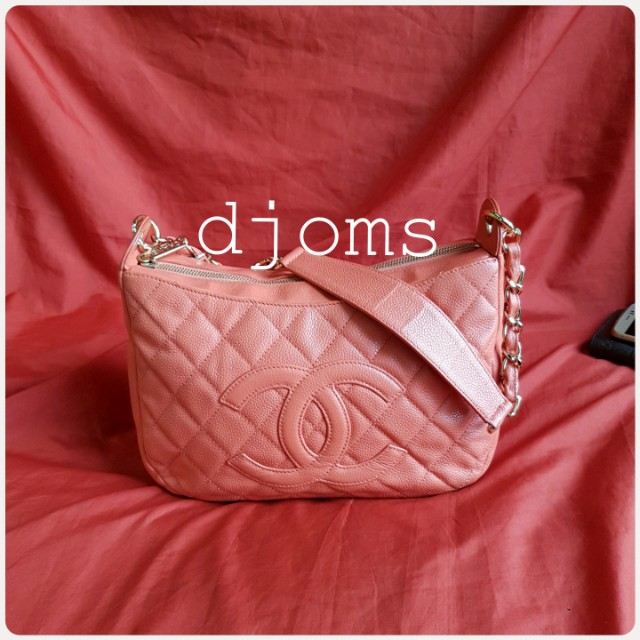 Chanel chain quilted caviar pink satchel hobo shoulder bag
