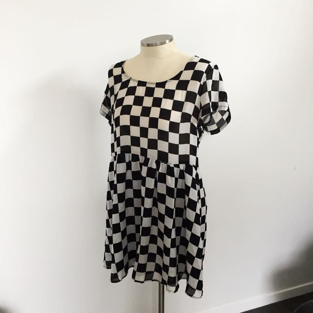 CHECKERBOARD SKATER DRESS 🏁
