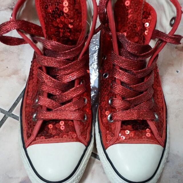 含運  Converse  紅色亮片鞋