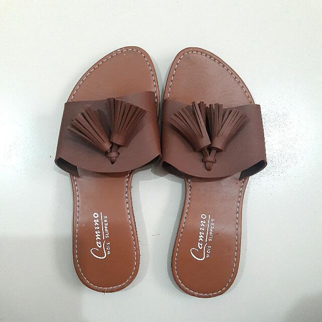 Dark Brown Tassel Sandals