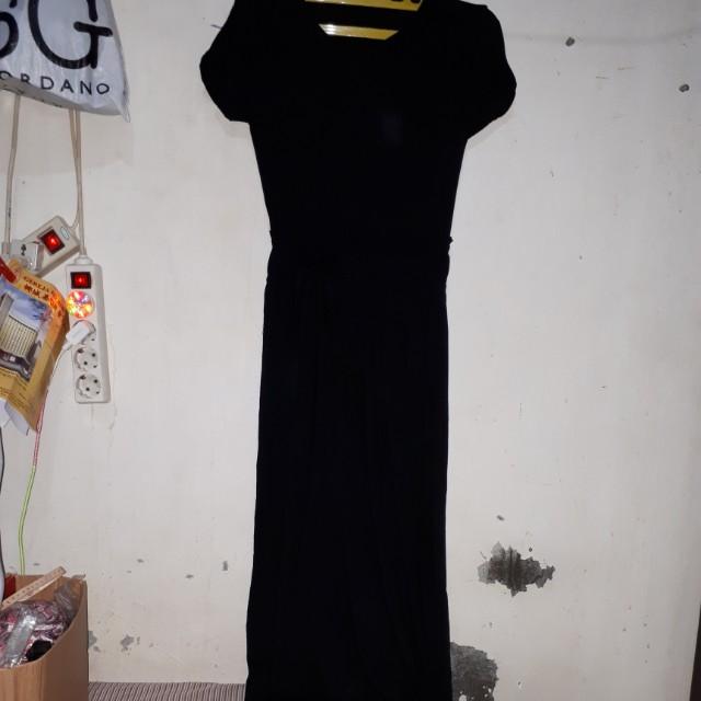 Dress wanita warna hitam long dress