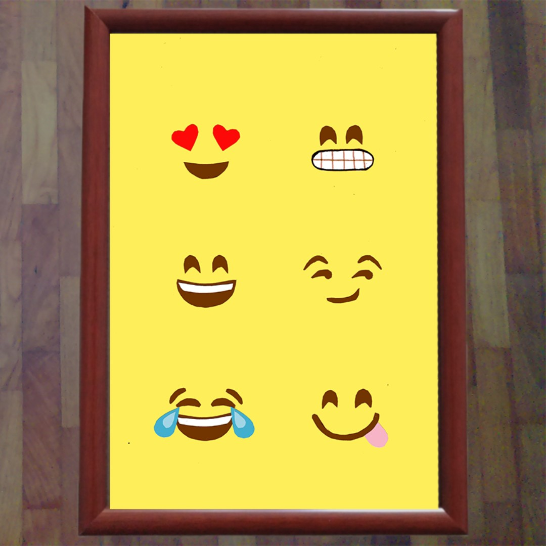Emoji Wall Art Photo Frame, Design & Craft on Carousell