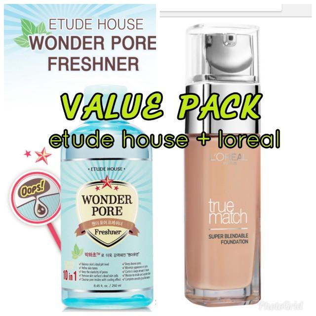 Etude House Wonder pore Freshner and Loreal Paris True Match Foundation