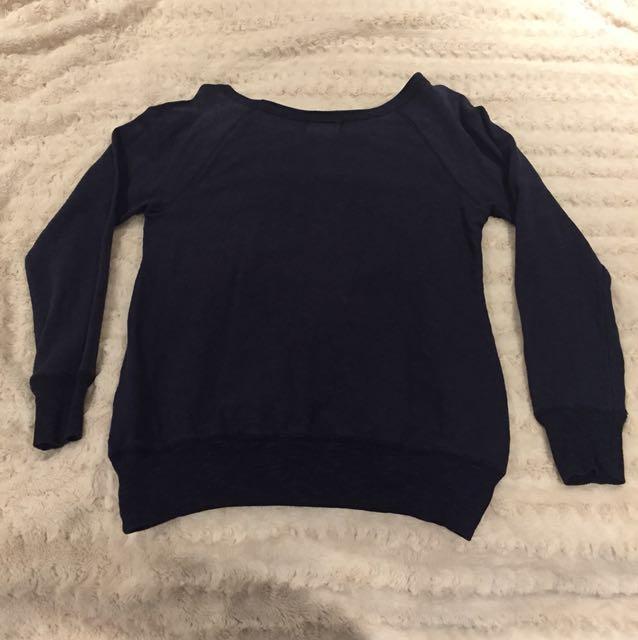 F21 Navy Crewneck Sweater - Size S