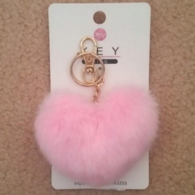 Faux Fur Heart Shaped Pom Pom Keyring