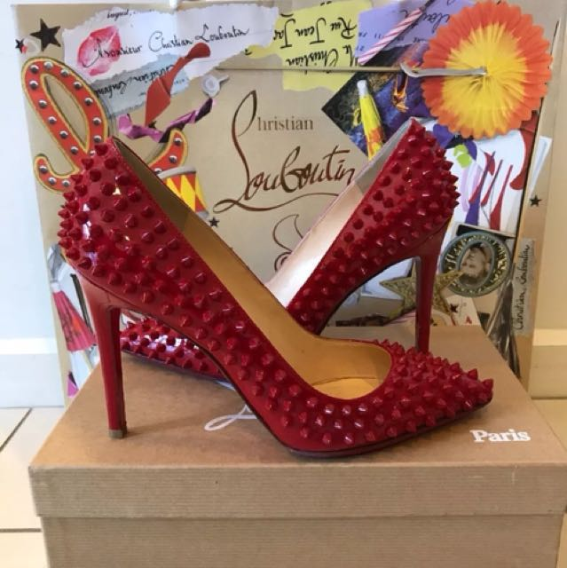 *FLASH SALE* Christian Louboutin Pigalle Spikes Red Patent Leather