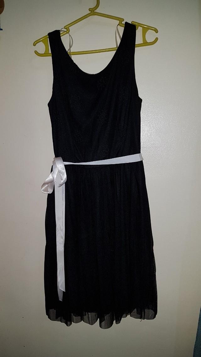 Floral detailed BLACK DRESS