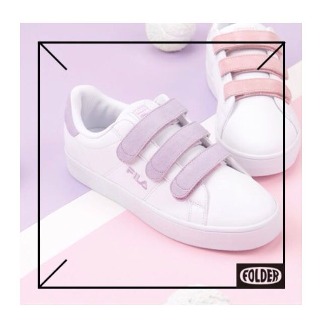 Folderxfila魔鬼氈運動鞋魔鬼氈麂皮球鞋韓國限定粉紫色