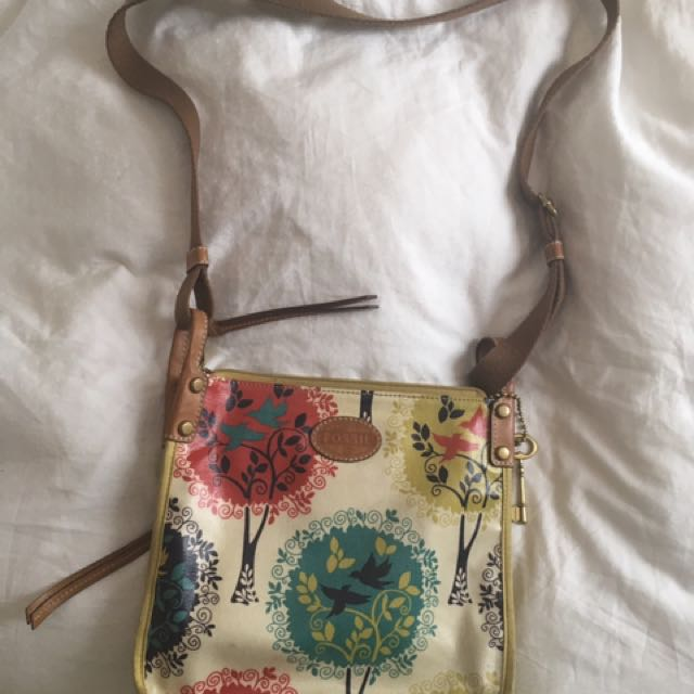 Fossil key-per crossbody satchel leather and canvas purse bag