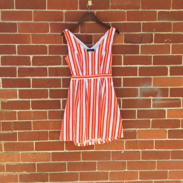 Glassons orange candy stripe dress