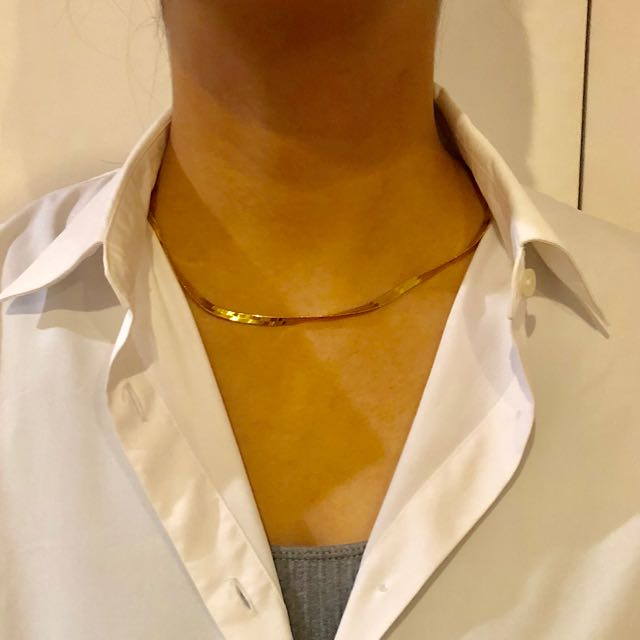 Gold Plated flat/snake chain necklace