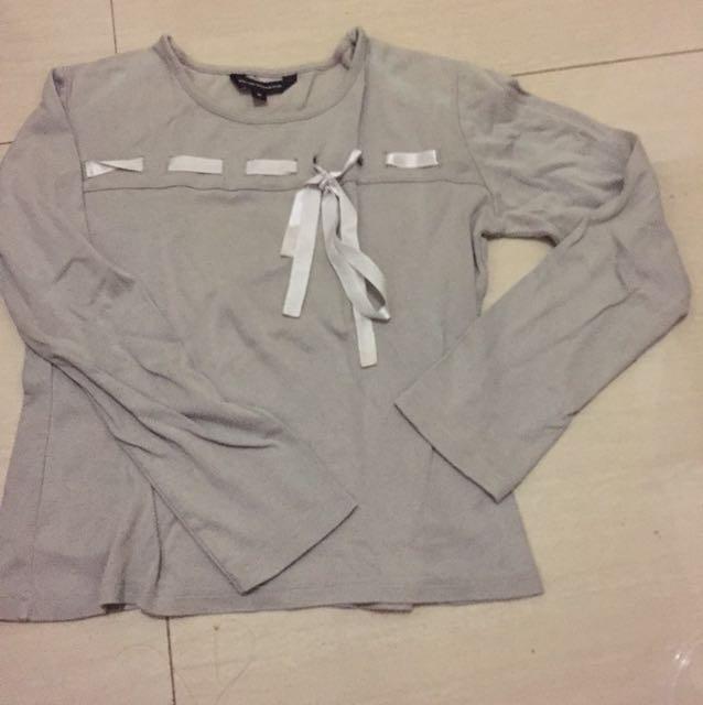 Gray Ribboned Top