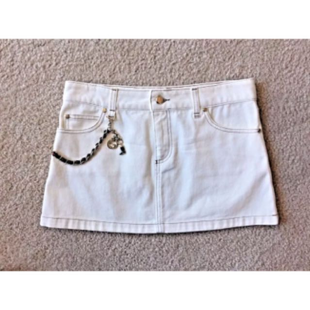 GUCCI White Cotton Denim Silver Tone Chain Embellishment Mini Skirt