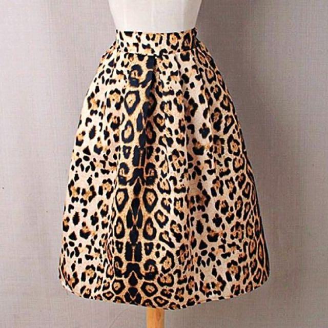 High waist leopard zippered A-line women ball gown skirt