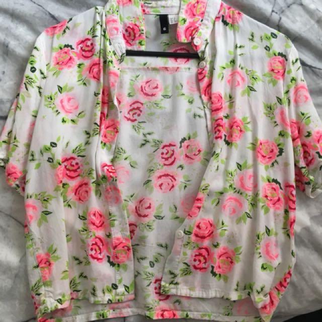 H&M Neon Flower Crop Blouse